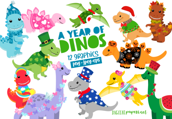 Print on Demand: A Year of Dinosaurs Graphic Illustrations By DigitalPapers