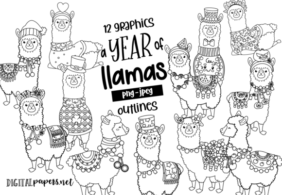 Print on Demand: A Year of Llamas Outlines Graphic Illustrations By DigitalPapers