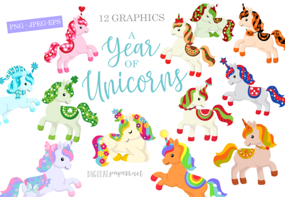 Print on Demand: A Year of Unicorns Graphic Illustrations By DigitalPapers