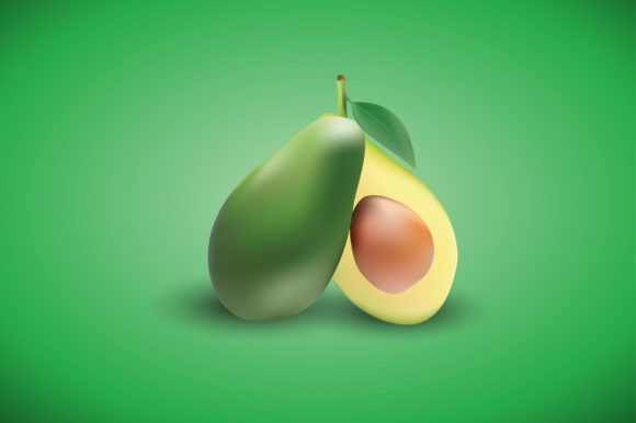 Avocado with Realistic Gradient Mesh Graphic Illustrations By Aradevi