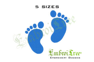 Baby Feet - Blue Boys & Girls Embroidery Design By EmbroiTree 1