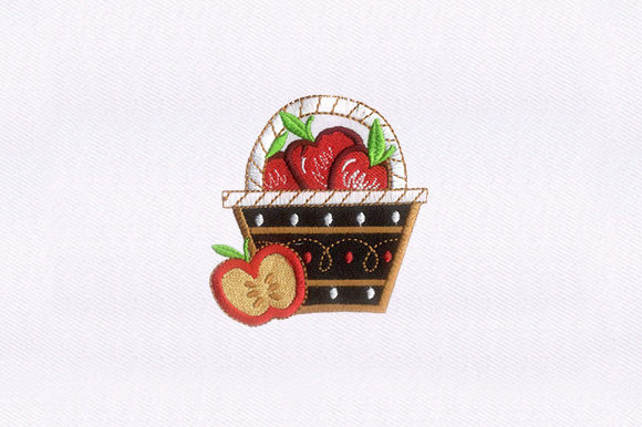 Basketful Red Apples Embroidery