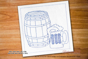 Beer Can Lineart Wine & Drinks Embroidery Design By Redwork101