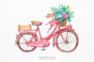 Print on Demand: Bicycle with Flowers Sublimation Graphic Crafts By Chonnieartwork