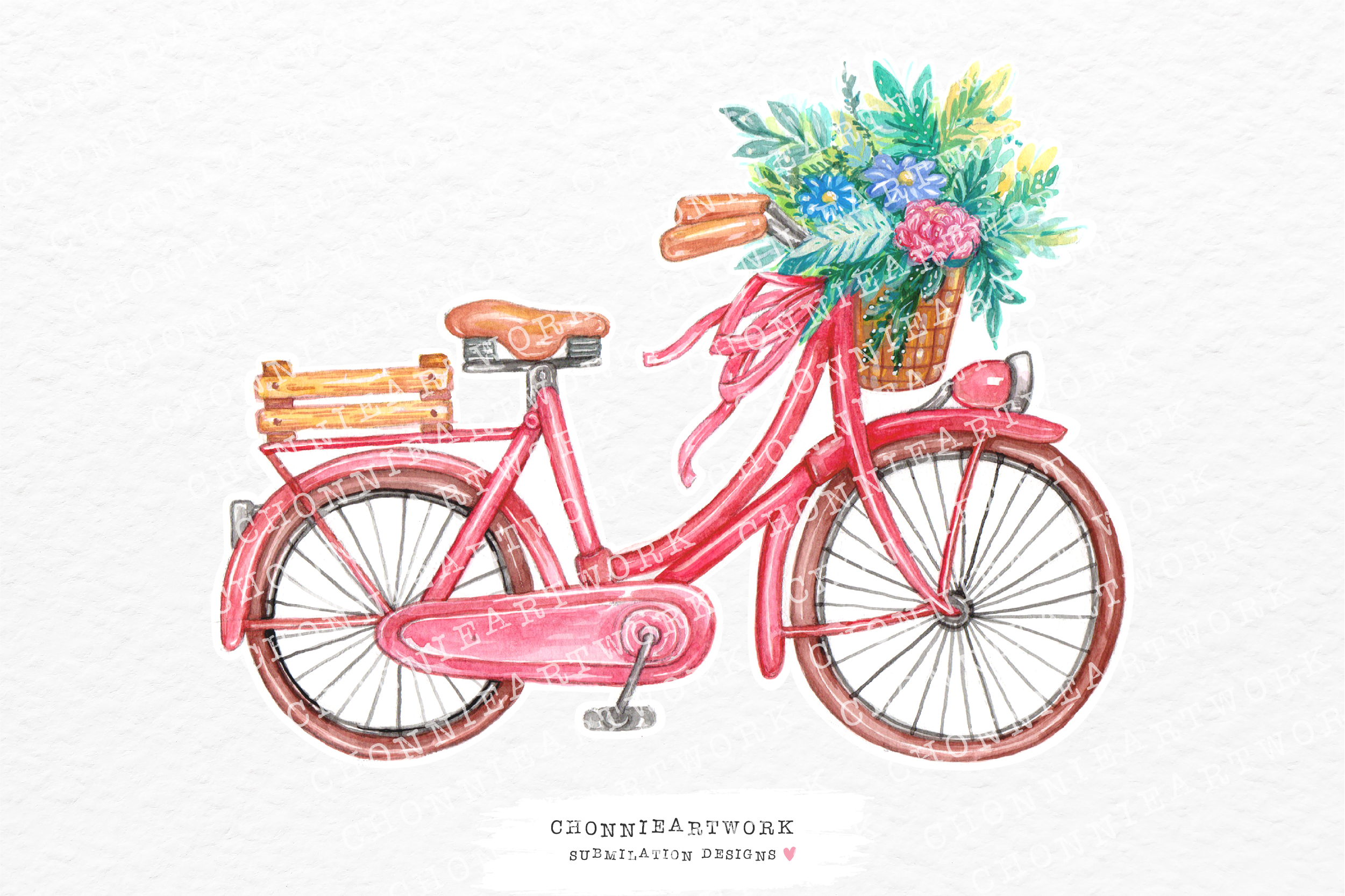 Bicycle with Flowers Sublimation SVG File