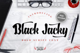 Print on Demand: Black Jacky Script & Handwritten Font By ibeydesign
