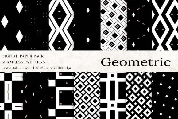 Black White Geometric Digital Papers Graphic Patterns By BonaDesigns