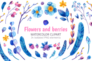 Print on Demand: Blue Botanical Clipart with Boho Berry Graphic Objects By ValinMalin