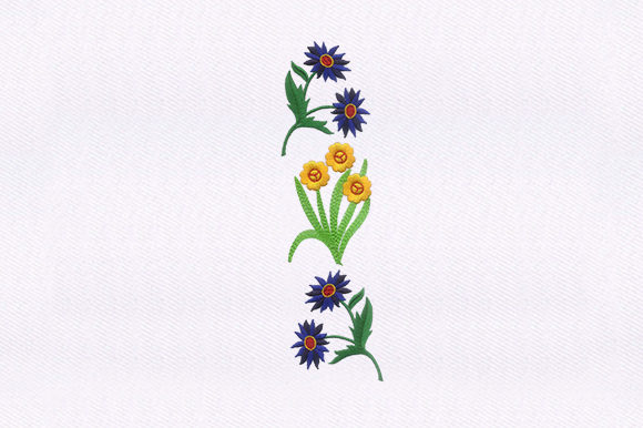 Blue & Yellow Floral Single Flowers & Plants Embroidery Design By DigitEMB