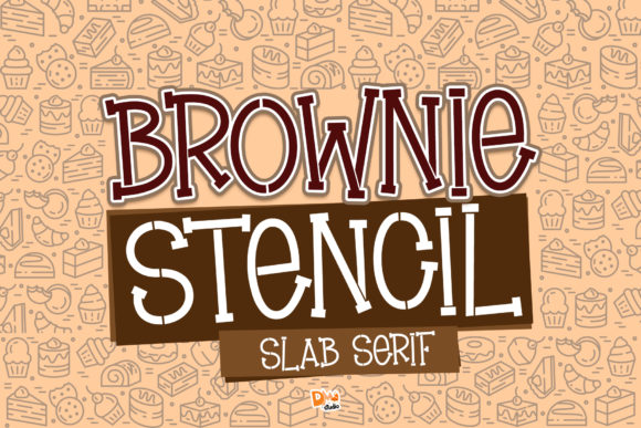 Print on Demand: Brownie Stencil Slab Serif Schriftarten von dmletter31