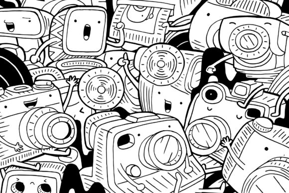 Camera Doodle Art Graphic Coloring Pages & Books By medzcreative