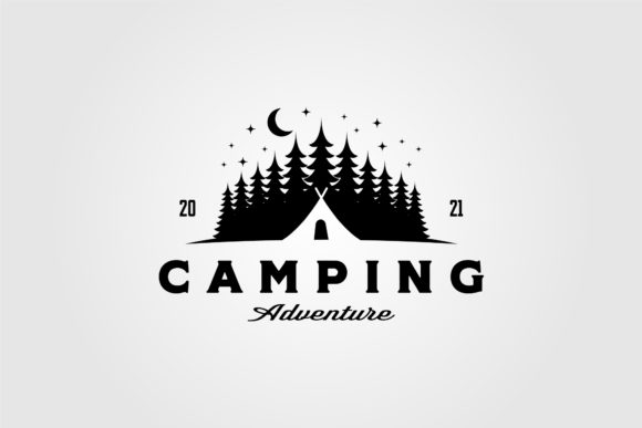 Camp Tent Logo in Pine Tree Vintage Graphic Logos By lawoel