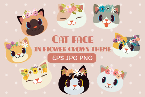 Cat Face with Flower Crown Clipart Gráfico Ilustraciones Por Guppic the duck
