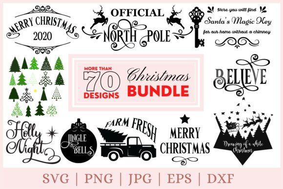 Christmas  Bundle Graphic Print Templates By CrazyCutDesigns