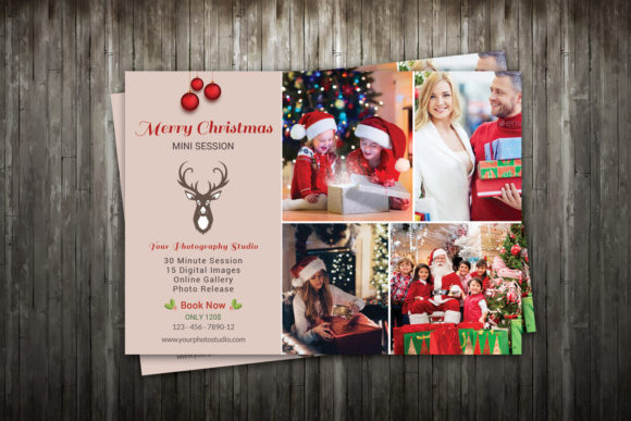 Print on Demand: Christmas Mini Session Template Graphic Print Templates By sistecbd