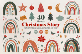 Christmas Rainbow Clipart Set Graphic Illustrations By EssentiallyNomadic