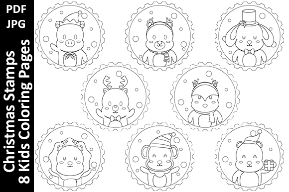 Christmas Stamps – 8 Kids Coloring Pages Graphic Coloring Pages & Books Kids By Oxyp