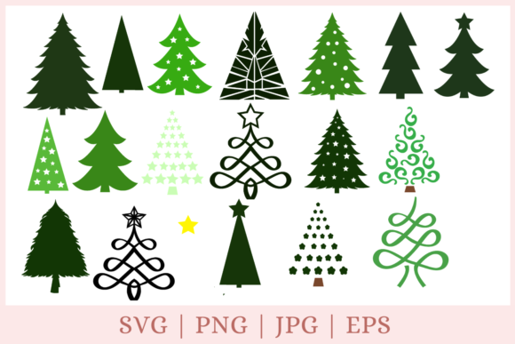 Christmas Tree Bundle Graphic Print Templates By CrazyCutDesigns
