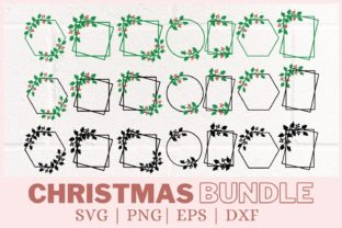 Christmas Wreath Bundle Graphic Print Templates By CrazyCutDesigns