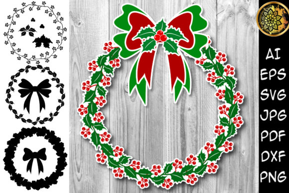 Print on Demand: Christmas Wreath with Base Layers Graphic Illustrations By V-Design Creator