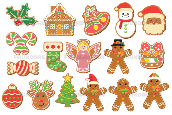 Print on Demand: Christmas and Gingerbread Clipart Graphic Illustrations By FounDream