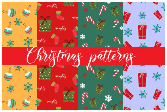 Print on Demand: Christmas Patterns Graphic Print Templates By inlovewithkats