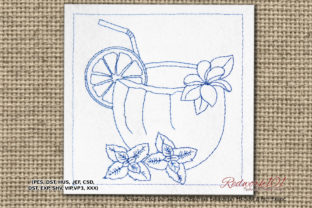 Coconut Drink Design Wine & Drinks Embroidery Design By Redwork101