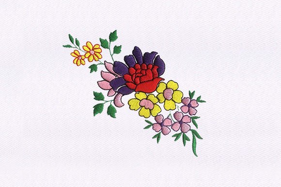 Colorful Rose Flowers Single Flowers & Plants Embroidery Design By DigitEMB
