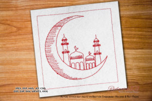 Crescent Moon with Mosque Redwork Religion & Faith Embroidery Design By Redwork101
