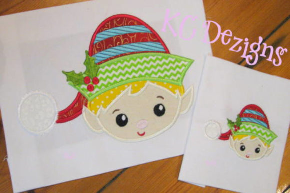 Cute Boy Elf Face Christmas Embroidery Design By karen50