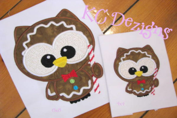 Cute Christmas Owl with Candy Cane Christmas Embroidery Design By karen50