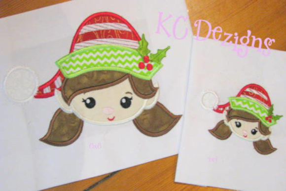 Cute Girl Elf Face Christmas Embroidery Design By karen50