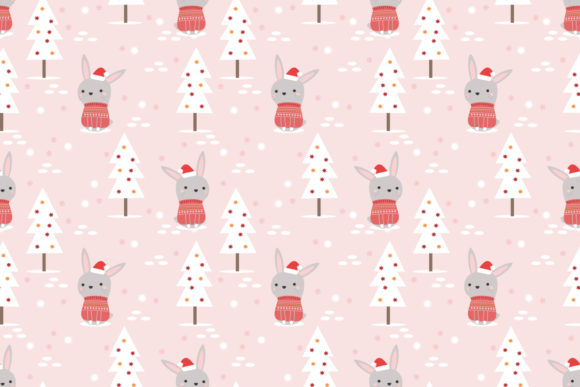 Cute Bunny in Christmas Theme Seamless Graphic Patterns By thanaporn.pinp