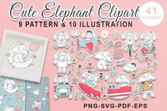 Print on Demand: Cute Elephant Hand Drawn Doodle Set Graphic Illustrations By OrchidArt