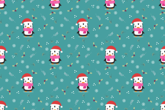 Cute Penguin in Christmas Theme Seamless Graphic Patterns By thanaporn.pinp
