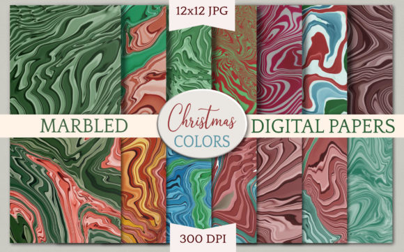 Print on Demand: Digital Papers - Marble Christmas Colors Graphic Backgrounds By Digital Town