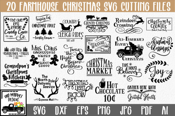 Print on Demand: Farmhouse Christmas Bundle Graphic Crafts By oldmarketdesigns