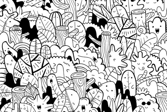 Forest Doodle Art Graphic Coloring Pages & Books By medzcreative