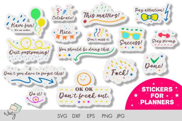 Print on Demand: Funny Stickers for Planners SVG DXF Set. Graphic Print Templates By artsbynaty