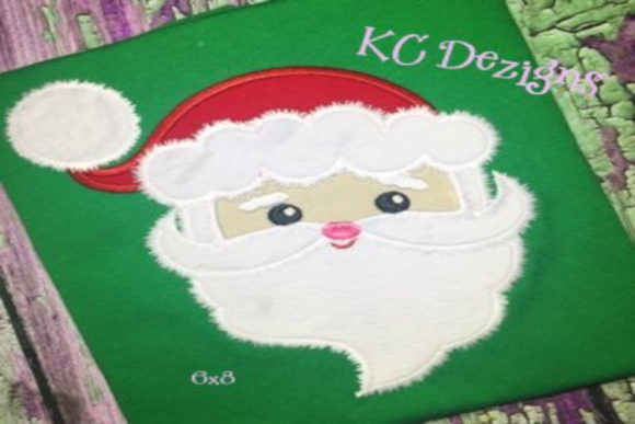 Fuzzy Santa Face Christmas Embroidery Design By karen50
