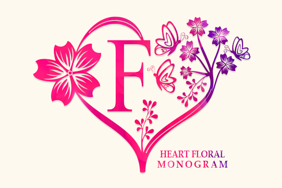 Print on Demand: Heart Floral Monogram Decorative Font By utopiabrand19