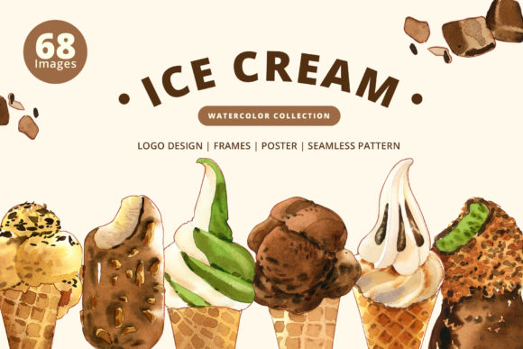 Ice Cream Sweet Summer Set Watercolor Graphic Illustrations By WatercolorEps