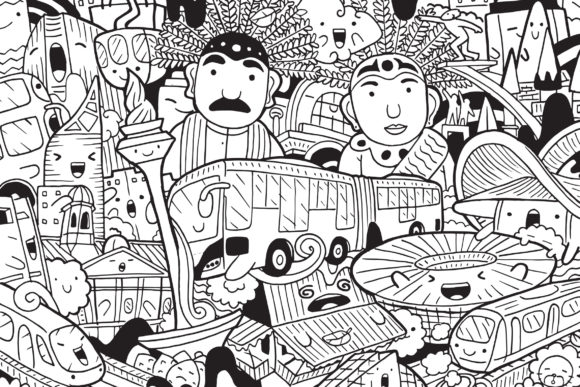 Jakarta Doodle Art Graphic Coloring Pages & Books By medzcreative