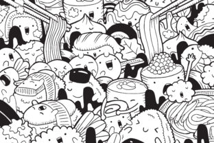 Japanese Food Doodle Art Graphic Coloring Pages & Books By medzcreative