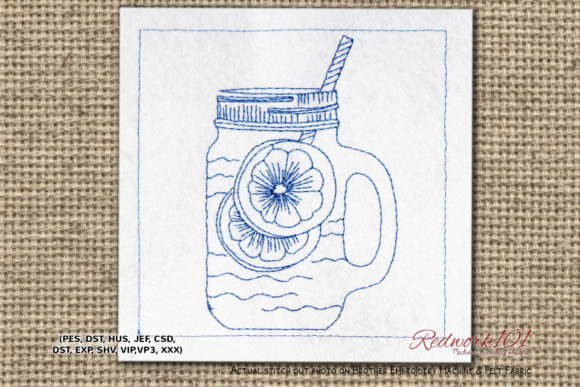 Long Island Ice Tea Machine Tea & Coffee Embroidery Design By Redwork101