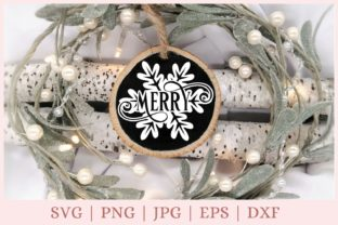 Merry, Christmas Ornament Graphic Print Templates By CrazyCutDesigns