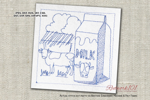Milk with Cow Machine Wine & Drinks Embroidery Design By Redwork101