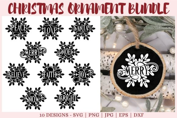 Ornament, Christmas Bundle Graphic Print Templates By CrazyCutDesigns