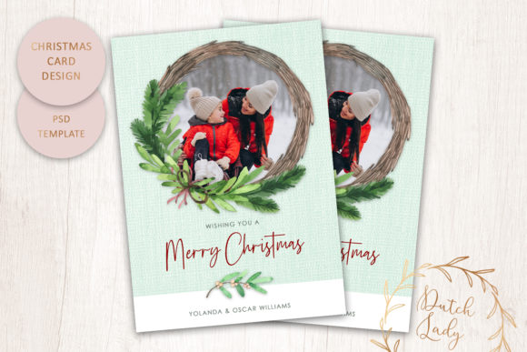 Print on Demand: PSD Christmas Photo Card Template #7 Graphic Print Templates By daphnepopuliers