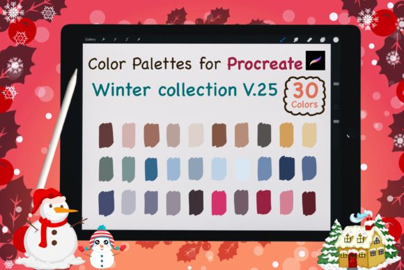 Procreate Color Palettes-Winter V25 Graphic Add-ons By jennythip